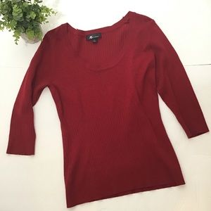 AB Studio Red Stretch Sweater Large